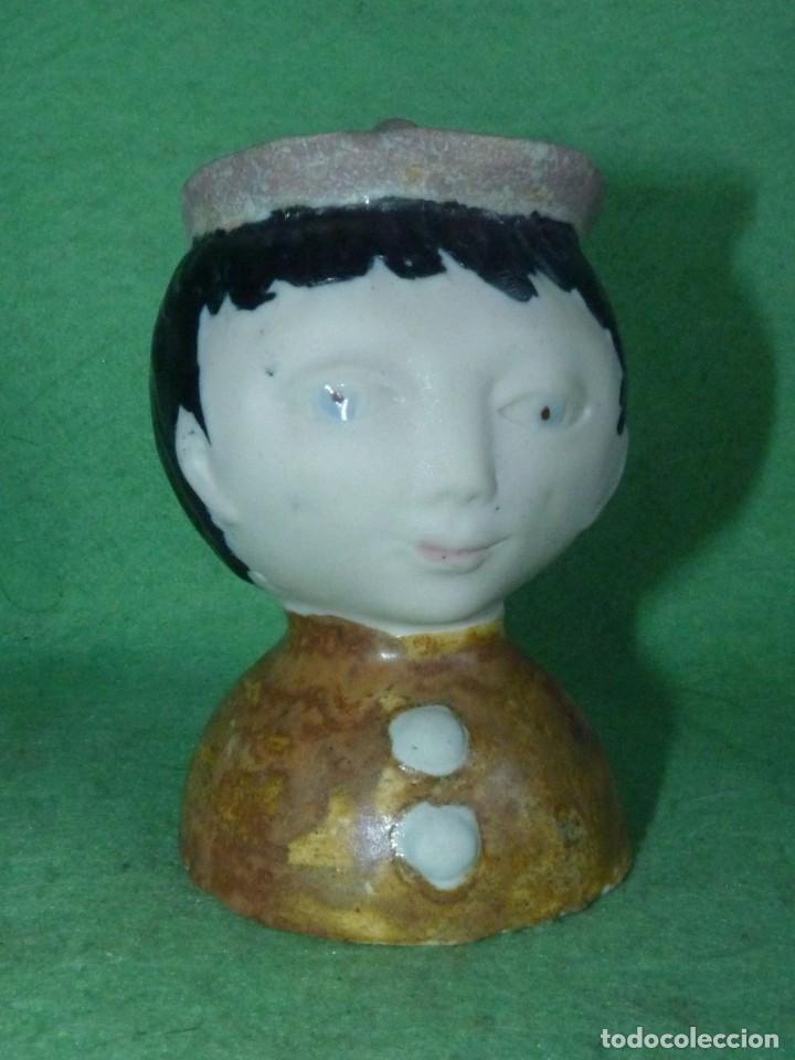 CURIOSA CABEZA INCENSIERO CERÁMICA PINTADA ESMALTADA A MANO SELLADA BUSTO MONAGUILLO ?? (Vintage - Decoración - Porcelanas y Cerámicas)