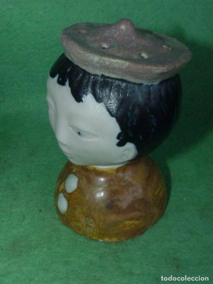 Vintage: Curiosa cabeza incensiero cerámica pintada esmaltada a mano sellada busto monaguillo ?? - Foto 2 - 160878858