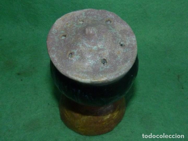Vintage: Curiosa cabeza incensiero cerámica pintada esmaltada a mano sellada busto monaguillo ?? - Foto 3 - 160878858