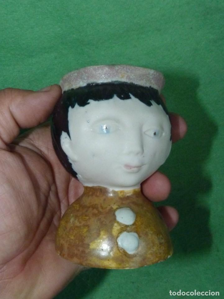Vintage: Curiosa cabeza incensiero cerámica pintada esmaltada a mano sellada busto monaguillo ?? - Foto 4 - 160878858