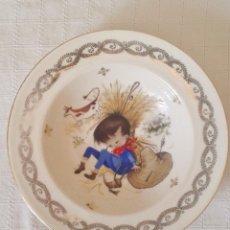 Vintage: PLATO DE PORCELANA DE LIMOGES. THEODORE HAVILAND. DIBUJO NIÑO CAMPESINO. VINTAGE. SIGLO XX. Lote 161549002