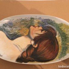 Vintage: BANDEJA DE PORCELANA PINTADA A MANO. Lote 162152146