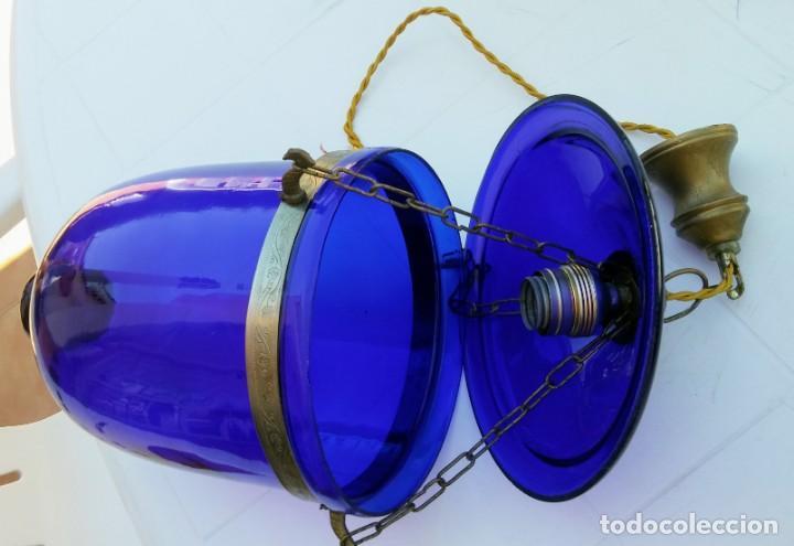 Vintage: LAMPARA COLGANTE AZUL DE VIDRIO Y BRONCE - Foto 3 - 164318242