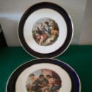 Vintage: PAREJA DE PLATOS DECORADOS DE SAN CLAUDIO. Lote 165017522