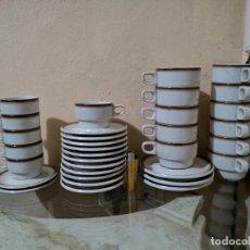 Vintage: 17 TAZAS Y 16 PLATOS IRABIA CORTO MEDIANO GRANDE LINEA BORDE MARRÓN TAZAS Y PLATOS CAFE IRABIA. Lote 165136250