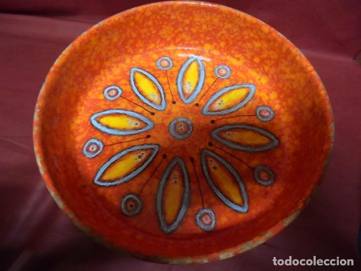 Vintage: magnifico frutero vintage ceramica cases, vidriada tonos rojos y anaranjados de los 60 - Foto 4 - 165266162