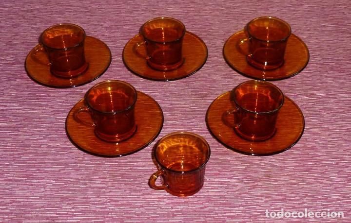 Vintage: 6 tazas y 5 platos de cafe color ambar duralex. - Foto 2 - 165534654