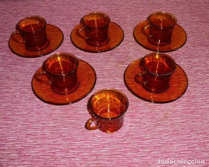Vintage: 6 tazas y 5 platos de cafe color ambar duralex. - Foto 3 - 165534654