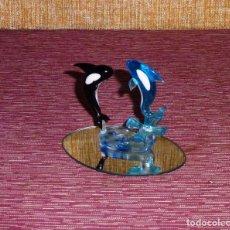 Vintage: FIGURA DE CRISTAL CON ORCAS (BALLENAS).. Lote 165680998
