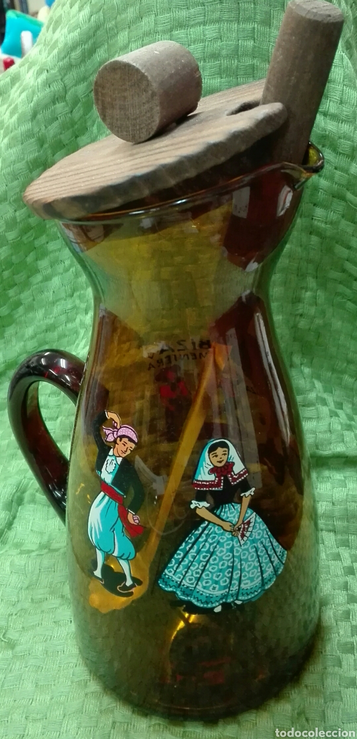 JARRA VINTAGE ÁMBAR DE IBIZA (Vintage - Decoración - Cristal y Vidrio)