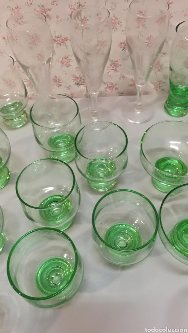 Vintage: Lote 20 pcs copas y vasos precioso color verde vintage años 70 - Foto 2 - 166748678