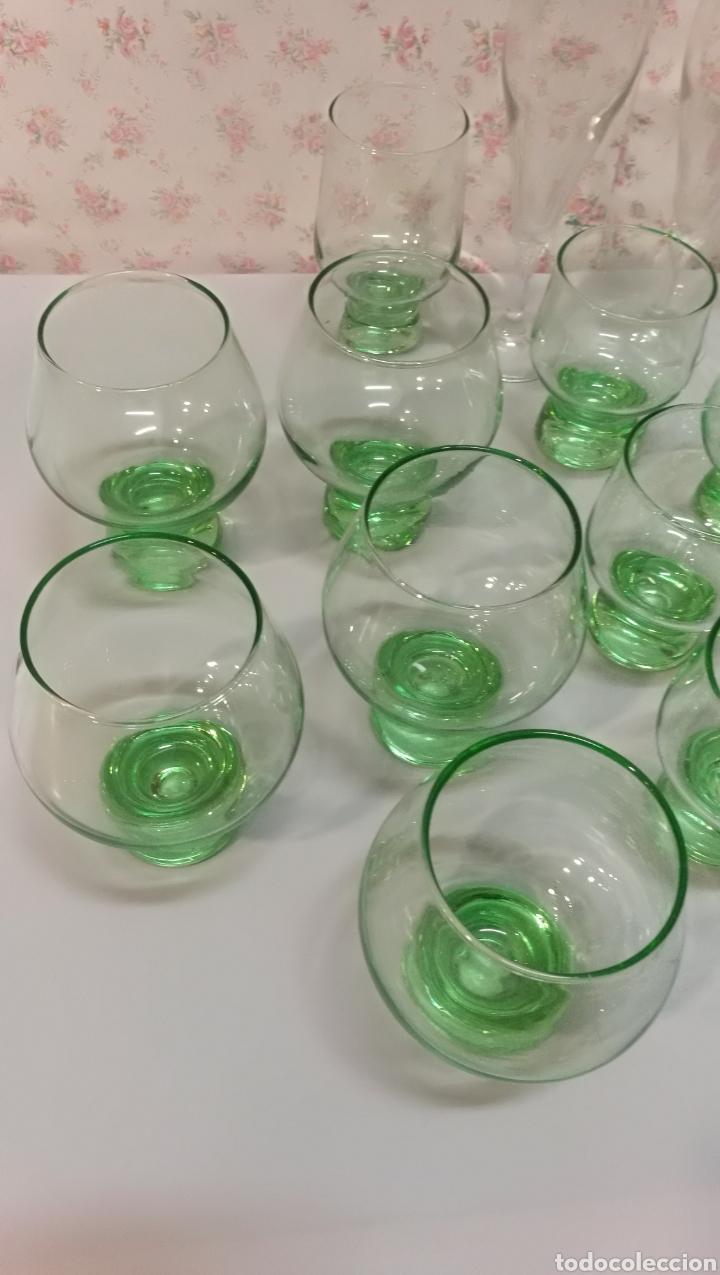 Vintage: Lote 20 pcs copas y vasos precioso color verde vintage años 70 - Foto 3 - 166748678