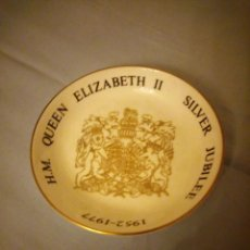 Vintage: PEQEÑO PLATO PORCELANA H.M. QUEEN ELIZABETH II SILVER JUBILEE,ROYAL WORCESTER 1976. Lote 167192688