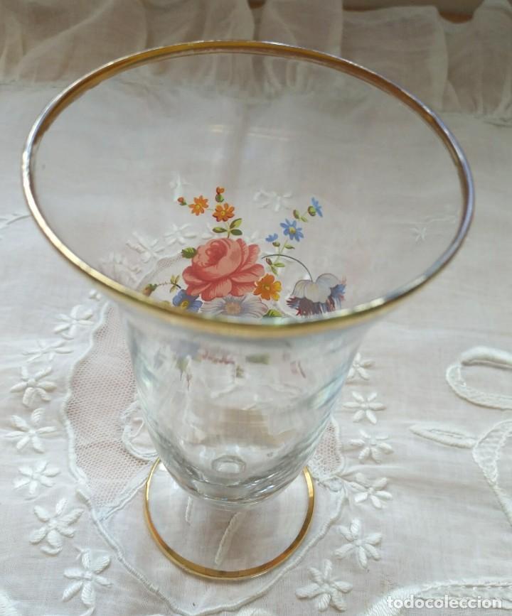 Vintage: Pequeño jarrón / florero cristal decoración flores - ribete dorado - altura 13cm y 7.50cm diámetro - Foto 2 - 167454884