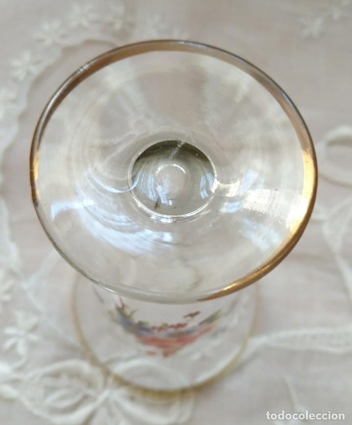 Vintage: Pequeño jarrón / florero cristal decoración flores - ribete dorado - altura 13cm y 7.50cm diámetro - Foto 3 - 167454884