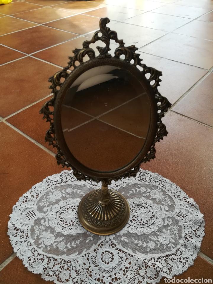 ESPEJO TOCADOR BRONCE (Vintage - Decoración - Cristal y Vidrio)