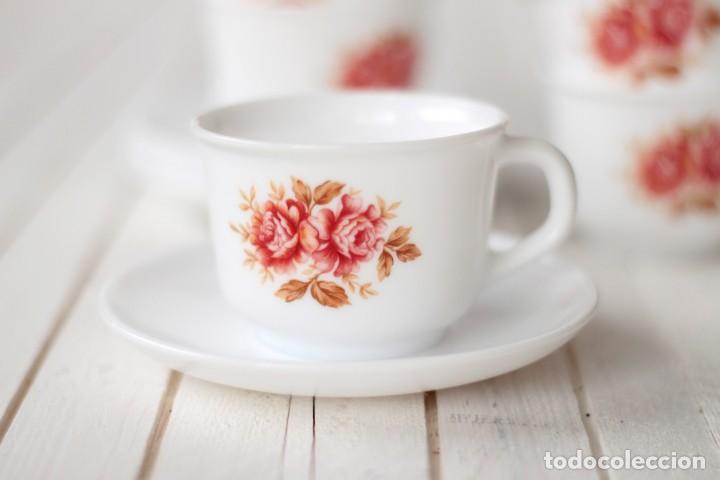 Vintage: Lote 5 tazas y 4 platos de café opalina serigrafiados con motivos florales - Vintage - Foto 3 - 168888052