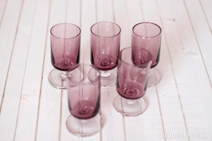 Vintage: Lote 5 copas Luminarc o similar, en color lila - Vintage - Foto 2 - 169415808