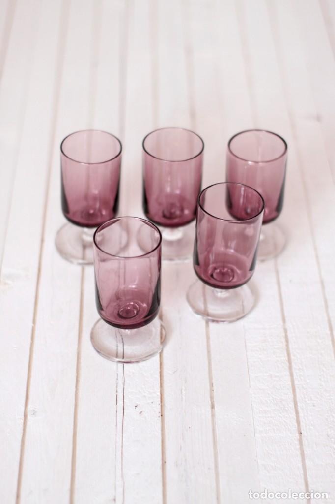Vintage: Lote 5 copas Luminarc o similar, en color lila - Vintage - Foto 3 - 169415808