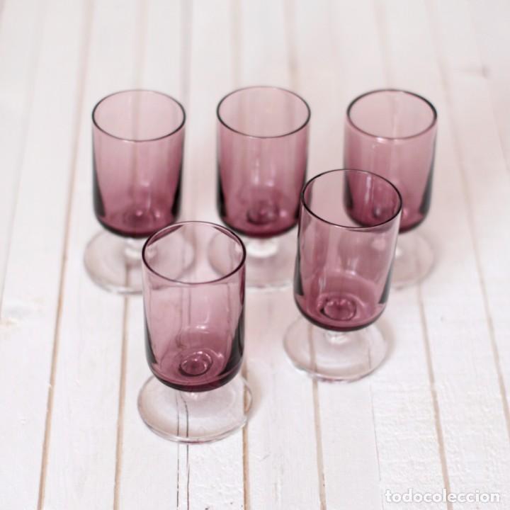 Vintage: Lote 5 copas Luminarc o similar, en color lila - Vintage - Foto 4 - 169415808
