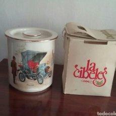 Vintage: BOTE CON TAPA EN CERÁMICA.SAN CLAUDIO.OVIEDO.NUMERADO.EN SU CAJA ORIGINAL DE LA CIBELES-CAOPININ.. Lote 169444588