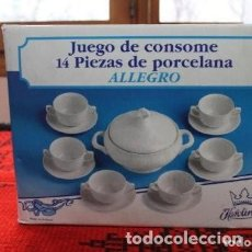Vintage: JUEGO DE CONSOME DE PORCELANA 14 PIEZAS DE LA MARCA KAROLINA . Lote 170883875