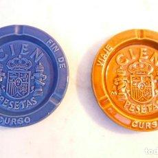 Vintage: CENICERO DE CERÁMICA MONEDA 100 PESETAS. LOTE DE 2. Lote 171192075