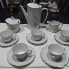 Vintage: JUEGO DE CAFE DE CINCO SERVICIO BLANCO CON ESPIGAS DE FLORES - SANTA CLARA MAH-VIGO.. Lote 171258470