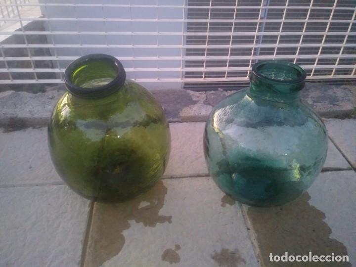 ANTIGUAS BOTELLA GARRAFAS DAMAJUANAS ACEITUNERAS DE BOCA ANCHA ACEITE ACEITUNAS COLOR VERDE AZULADO (Vintage - Decoración - Cristal y Vidrio)