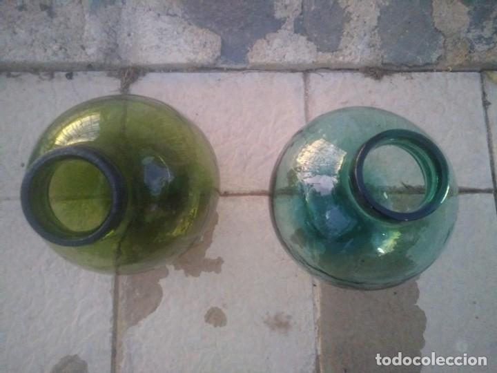Vintage: Antiguas botella garrafas DAMAJUANAS ACEITUNERAS de BOCA ANCHA aceite aceitunas color verde azulado - Foto 3 - 172425917