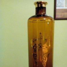 Vintage: BOTELLA VINTAGE CRISTAL COLOR AMBAR --- CORONA W ALTO 26 CM. Lote 172428687