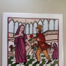 Vintage: BALDOSA DE LA COLECCIÓN DE COSTUMBRES. REGALO DE LA ROSA POR SANT JORDI. Lote 172983804