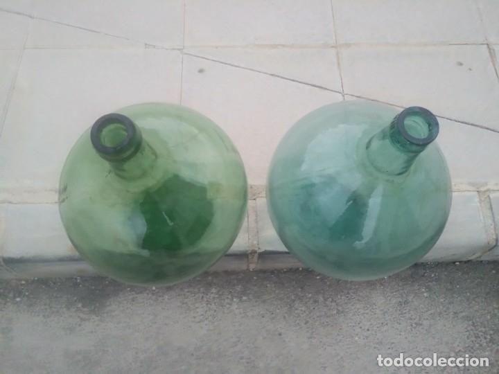 Vintage: Antiguas BOTELLAS GARRAFAS DAMAJUANA de COLOR AZUL VERDE para vino agua aceite oliva LEVANTE VIRESA - Foto 5 - 174285568