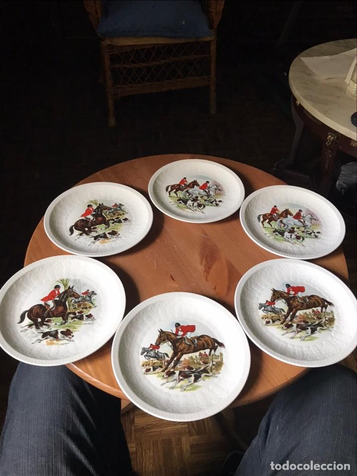 6 PLATOS DE PORCELANA DE POSTRE DE PONTESA (Vintage - Decoración - Porcelanas y Cerámicas)