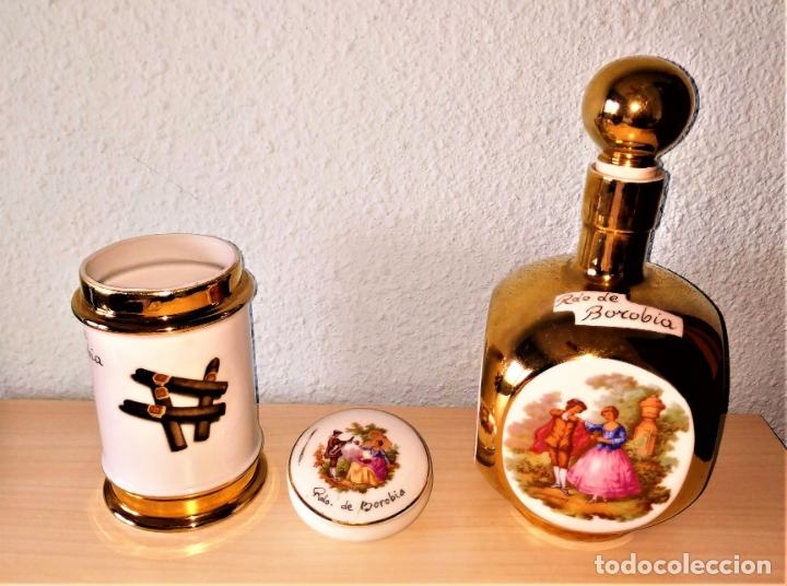 Vintage: Juego porcelana LIMOGES con dibujos FRAGONARD - Botella Wisky + Bote Puros + Joyero - Foto 2 - 175054477