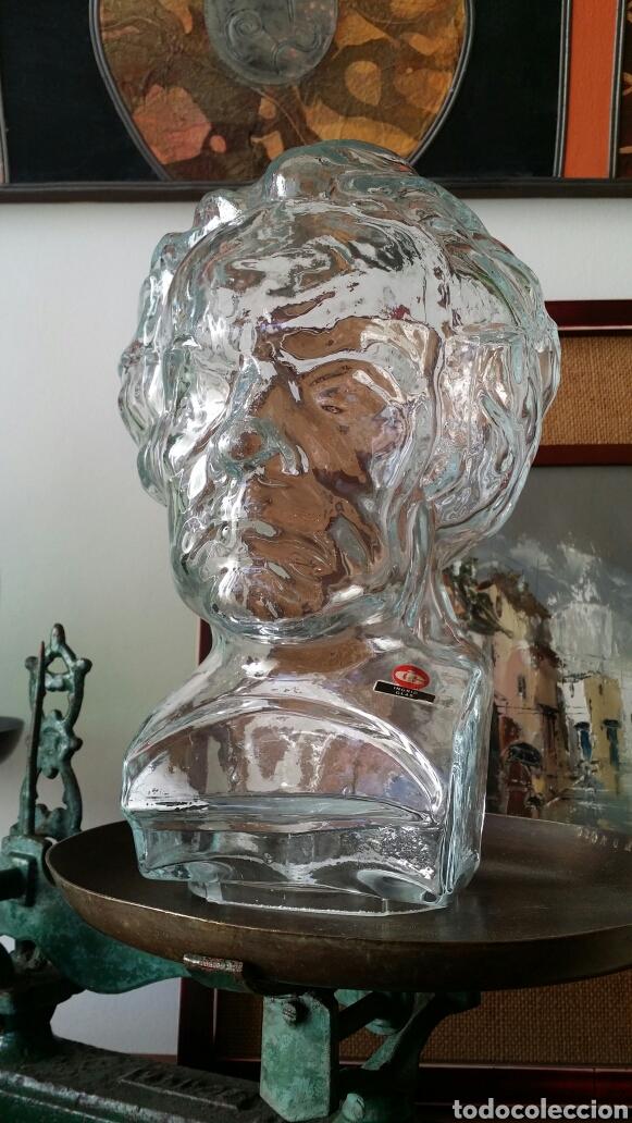 BUSTO BEETHOVEN CRISTAL INGRID GLASS AÑOS 70' (Vintage - Decoración - Cristal y Vidrio)