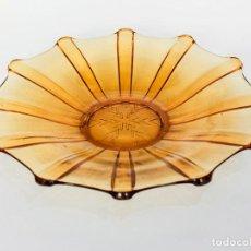 Vintage: GRAN PLATO CENTRO DE MESA CRISTAL ÁMBAR. 30 CM. Lote 175456503