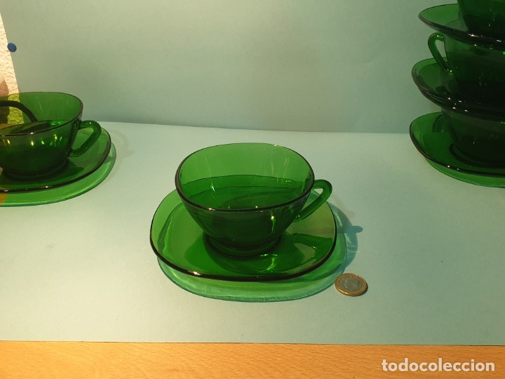 Vintage: 6 Tazas con plato de cristal verde años 70/80 -Tazones - Foto 3 - 175543069