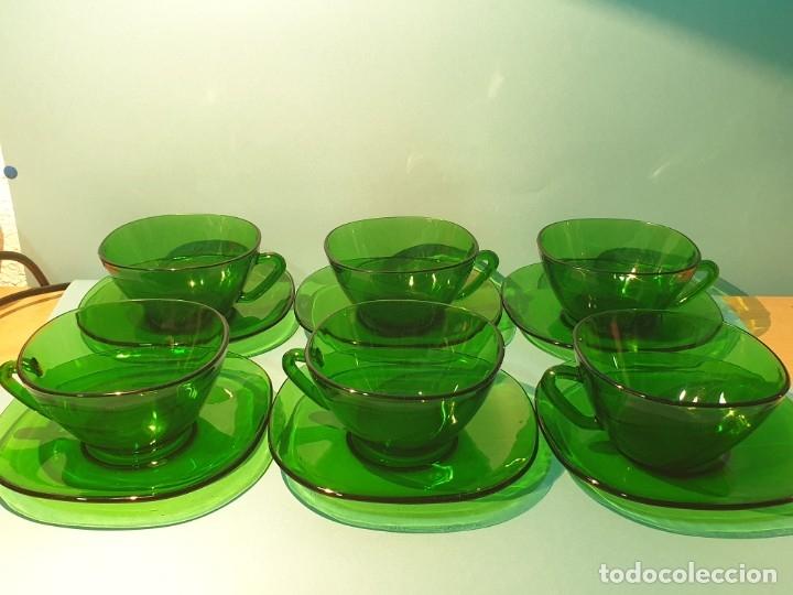 Vintage: 6 Tazas con plato de cristal verde años 70/80 -Tazones - Foto 2 - 175543069