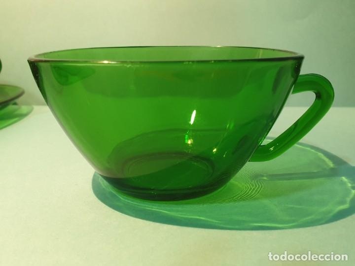 Vintage: 6 Tazas con plato de cristal verde años 70/80 -Tazones - Foto 4 - 175543069