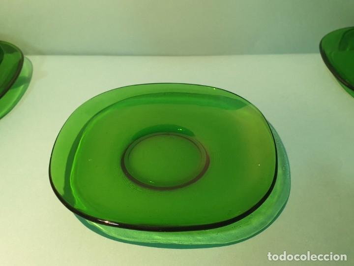 Vintage: 6 Tazas con plato de cristal verde años 70/80 -Tazones - Foto 6 - 175543069