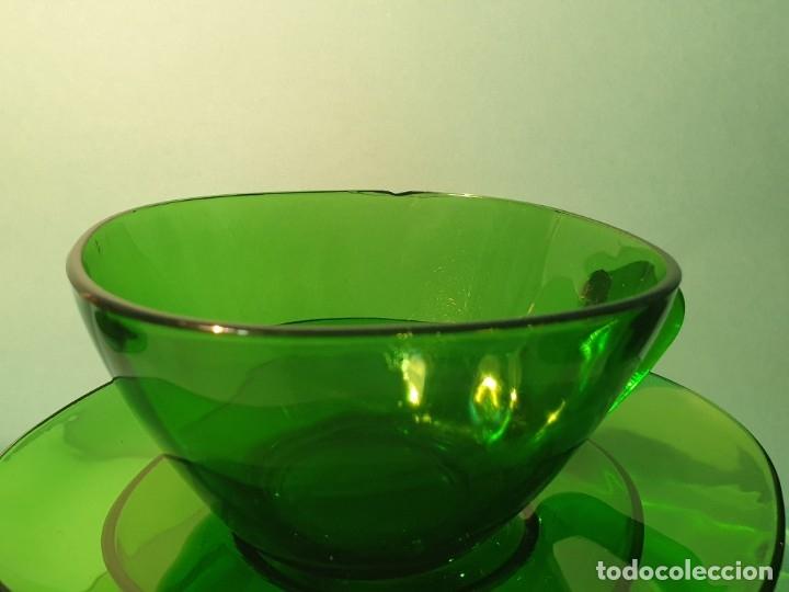 Vintage: 6 Tazas con plato de cristal verde años 70/80 -Tazones - Foto 7 - 175543069