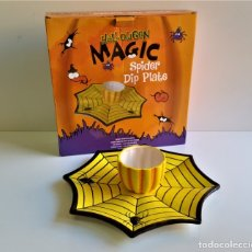 Vintage: HALLOWEEN BONITO JUEGO DE PORCELANA HALLOWEEN MAGIC SPIDER DIP PLATE - 31.CM DIAMETRO APROX. Lote 176808829