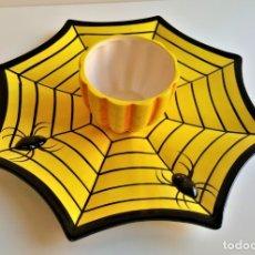 Vintage: HALLOWEEN BONITO JUEGO DE PORCELANA HALLOWEEN MAGIC SPIDER DIP PLATE - 31.CM DIAMETRO APROX. Lote 214308806