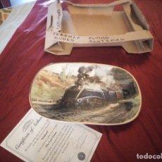 Vintage: PLATO DE PORCELANA ,TREN,DAVENPORT LAST OF THE GIANTS TERENCE CUNEO,MALLARD ,EDICION LIMITADA. Lote 178310005