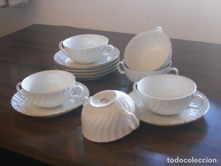 JUEGO DE CONSOMÉ DE BIDASOA (Vintage - Decoración - Porcelanas y Cerámicas)
