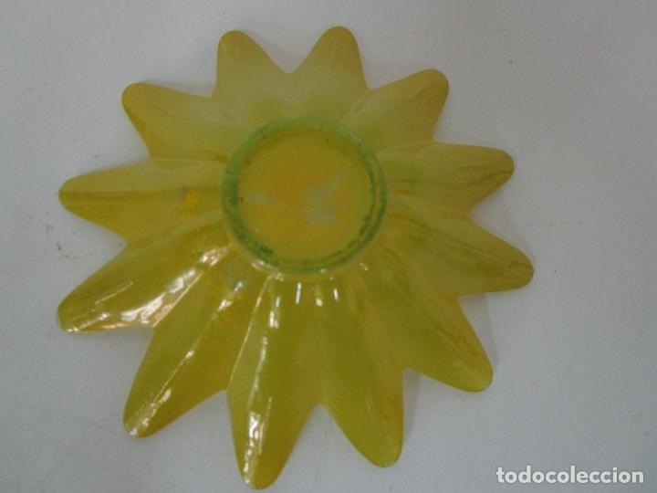 Vintage: Decorativa Pareja de Flores - Cristal Verde y Amarillo - Centros de Mesa - Vintage - Años 60 - Foto 10 - 179315481