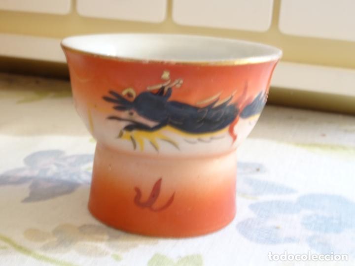 RECIPIENTE ORIENTAL DE PORCELANA CON UN DRAGON PINTADO (Vintage - Decoración - Porcelanas y Cerámicas)