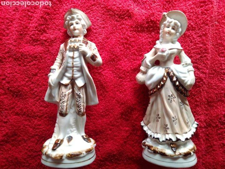 PRECIOSO LOTE 2 FIGURAS PORCELANA DE ÉPOCA JAPONESAS CON SELLO EIHO. (Vintage - Decoración - Porcelanas y Cerámicas)