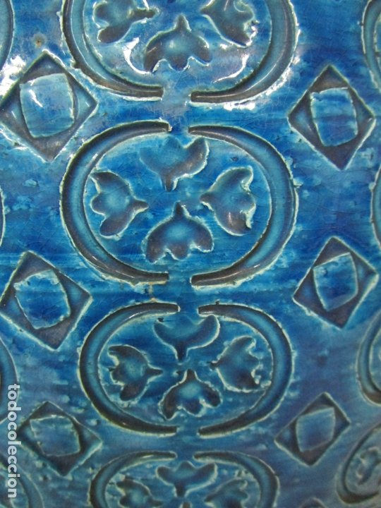 Vintage: Gran Jarrón - Cerámica Azul, Italia - Rimini Blue, Bitossi - Retro, Vintage - 52 cm Altura - Años 60 - Foto 3 - 180330575